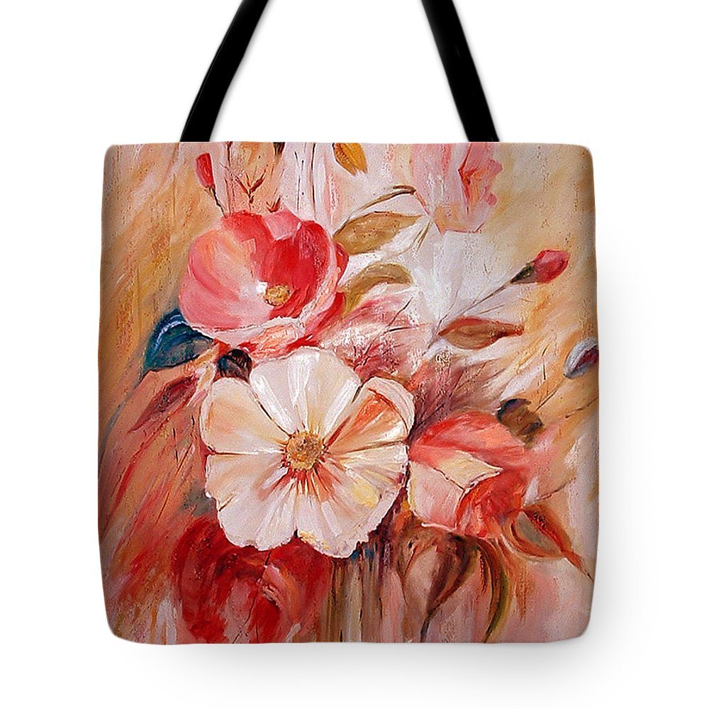 Modern Art Tote Bag featuring the painting Flowers I by Silvana Abel