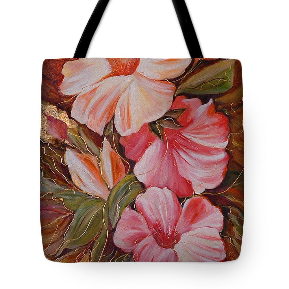 Abstract Tote Bag featuring the painting Flowers II by Silvana Abel