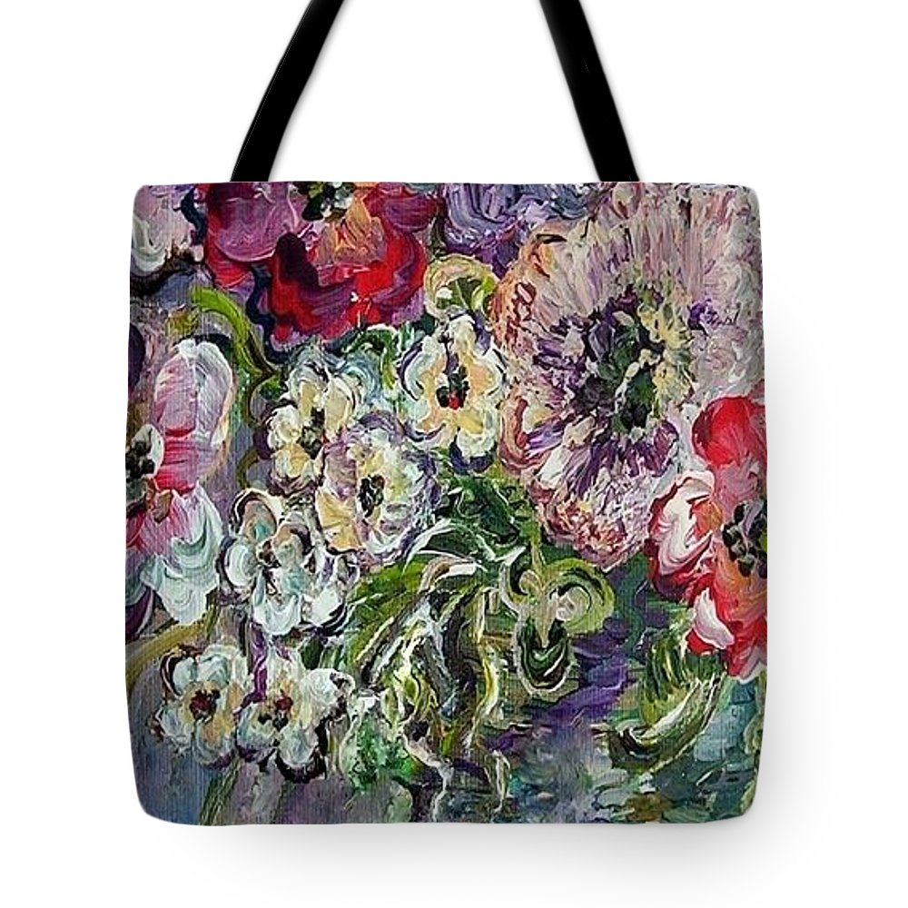 Palette Tote Bag featuring the painting Flowers In An Antique Blue Vase by Eloise Schneider Mote