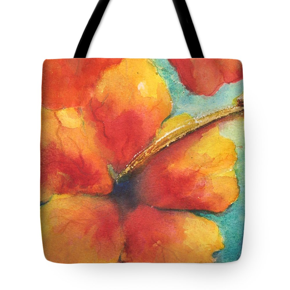 Fine Art Painting Tote Bag featuring the painting Flowers In Bloom by Chrisann Ellis