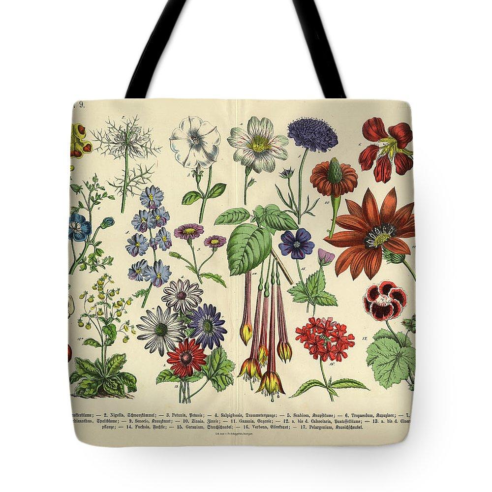 Lantana Tote Bag featuring the digital art Flowers Of The Garden, Victorian by Bauhaus1000