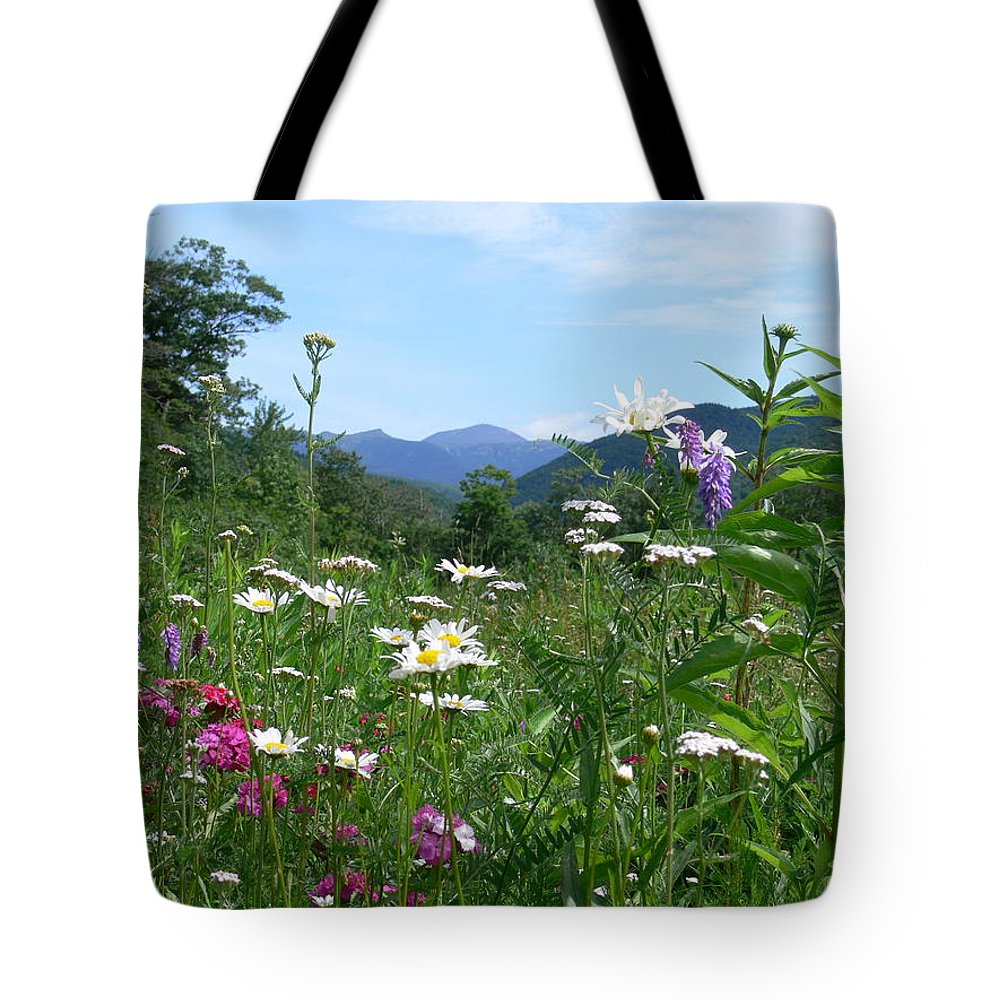 New Hampshire Scenic Tote Bag featuring the photograph Flowers View Of The Mountains by Nancie DeMellia