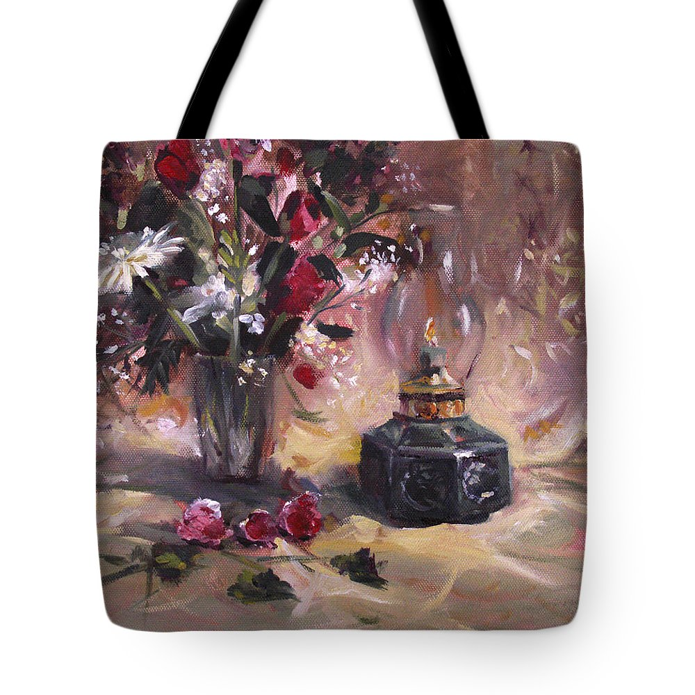 Flowers Tote Bag featuring the painting Flowers With Lantern by Nancy Griswold