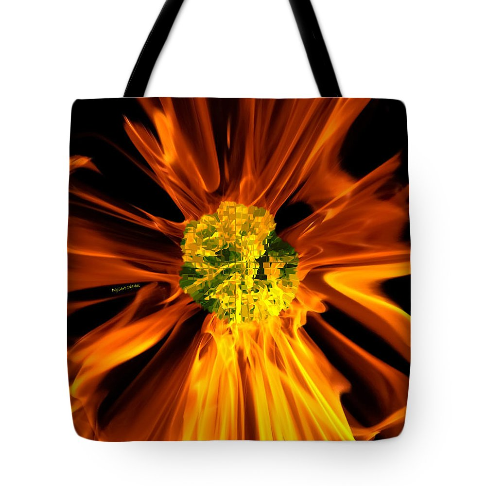 Fire Tote Bag featuring the photograph Flowery Flames by DigiArt Diaries by Vicky B Fuller