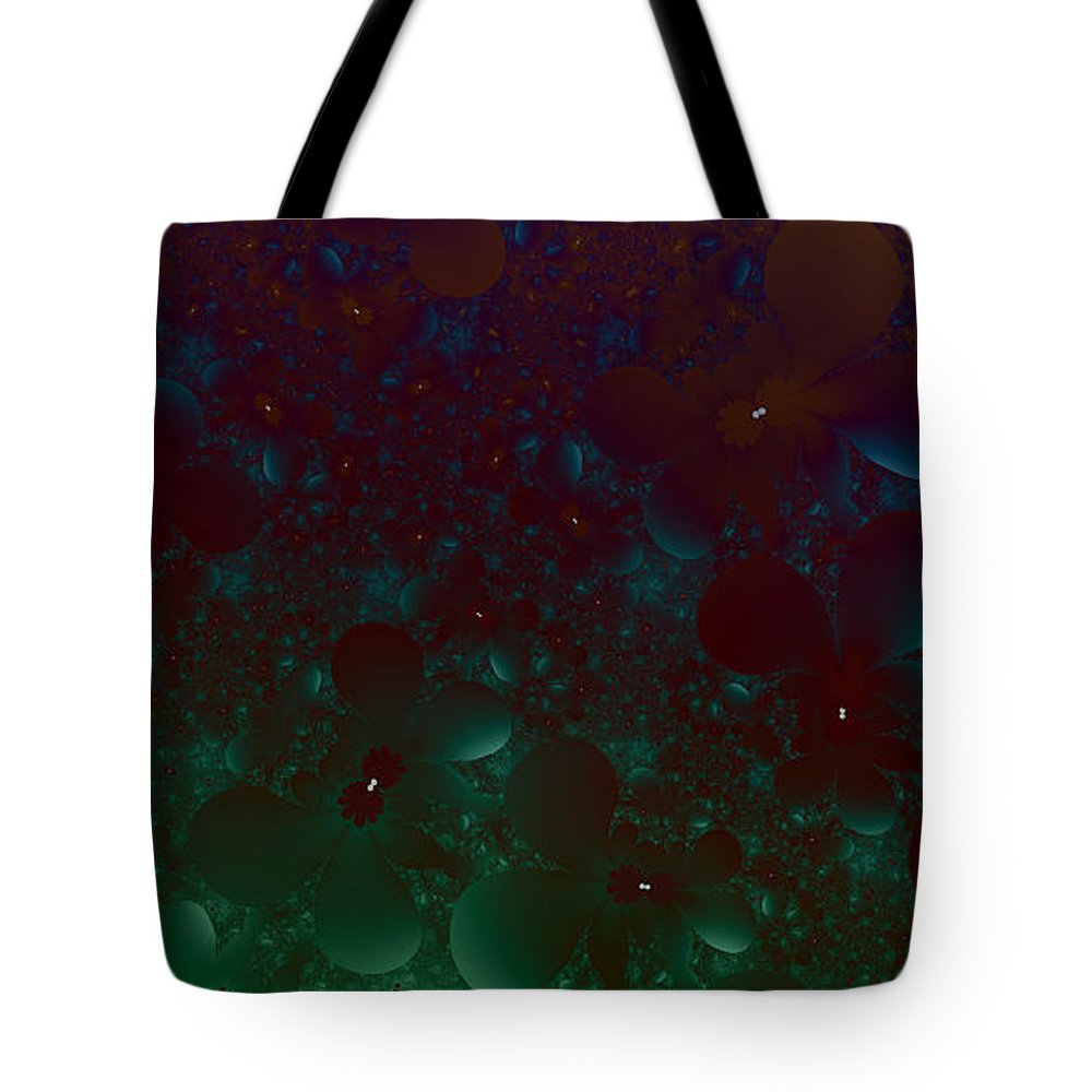 Fractal Art Tote Bag featuring the digital art Flowery Night Sky by Elizabeth McTaggart