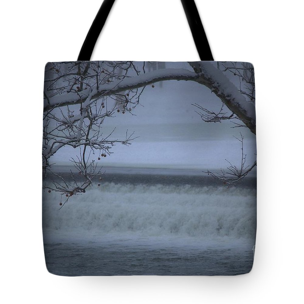 Snow Tote Bag featuring the photograph Flowing Through Ice by Veronica Batterson