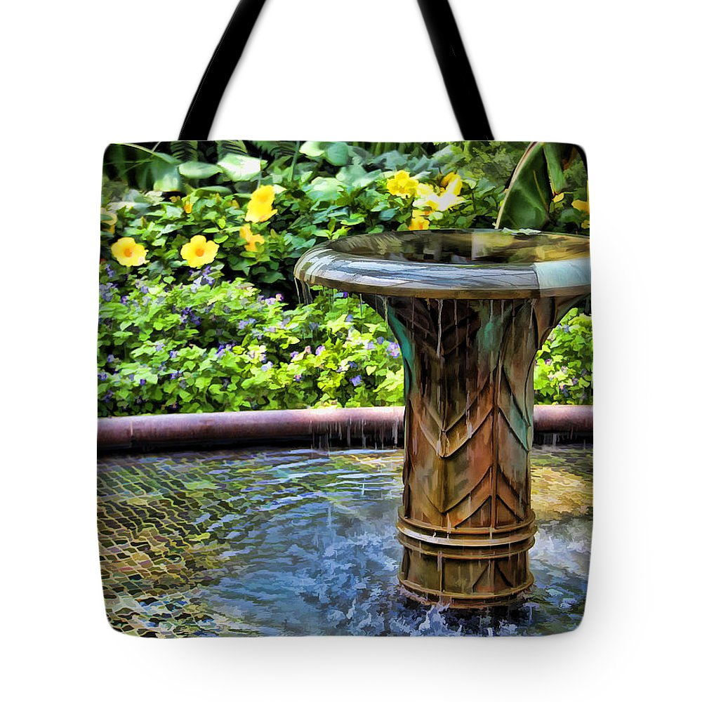Fountain Tote Bag featuring the photograph Flowing Water by Joyce Baldassarre