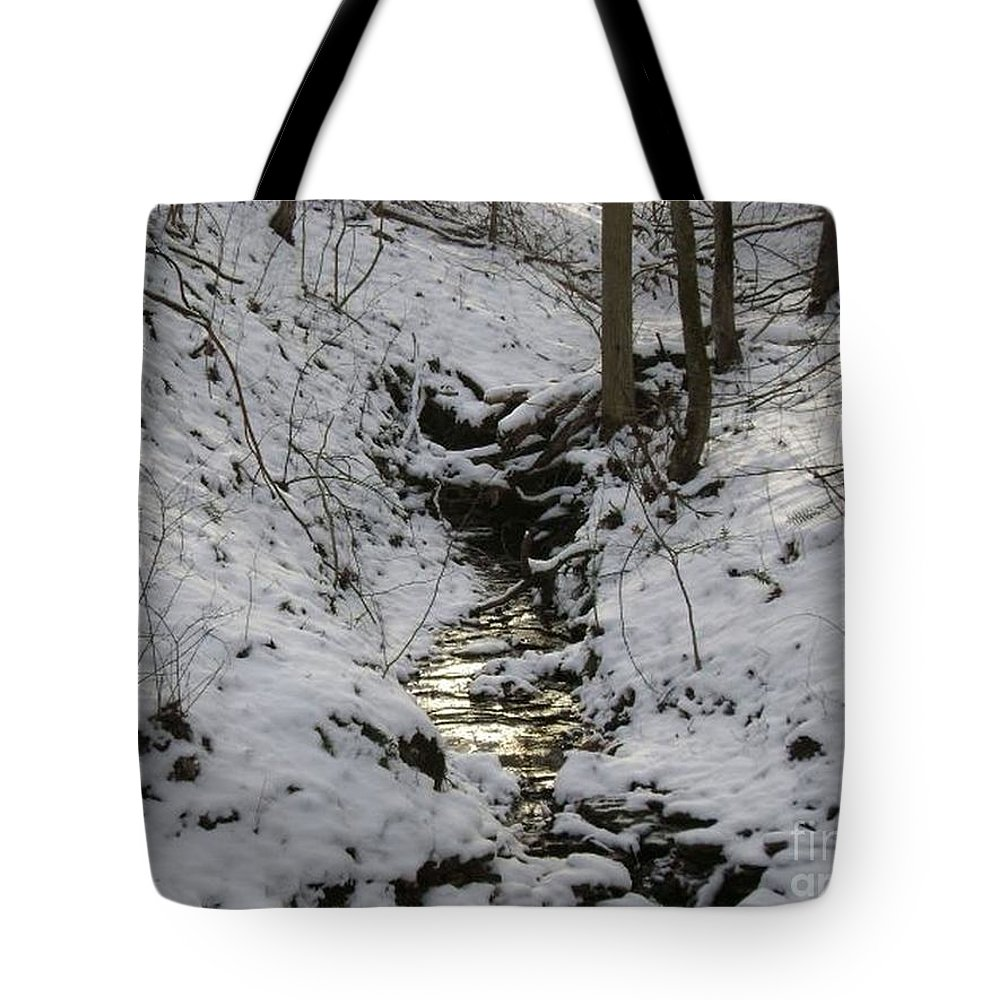 Winter Photography Tote Bag featuring the photograph Flowing Water by R A W M
