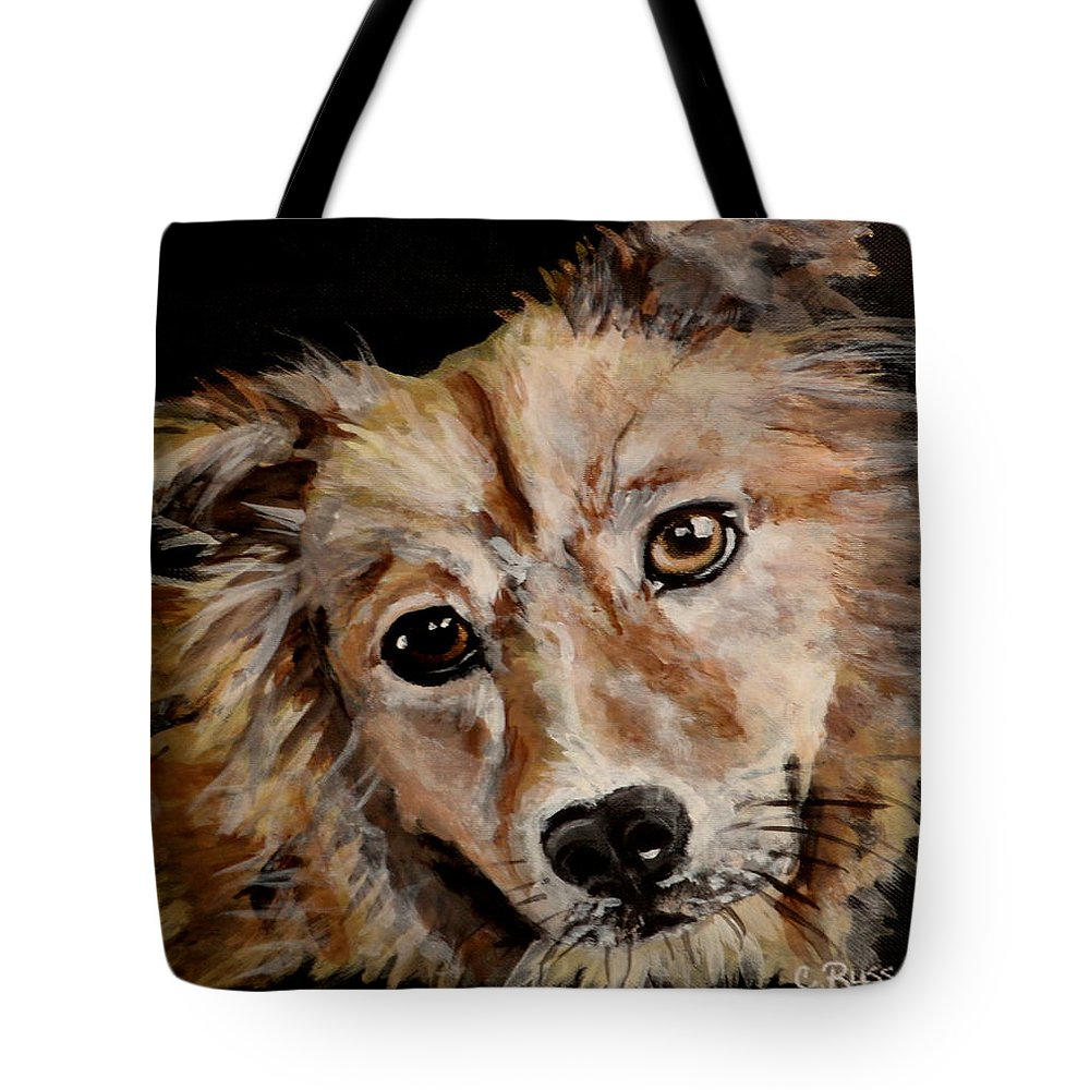 Fluffy Fuzzy Close Up Of Dog Tote Bag featuring the painting Fluffy by Carol Russell