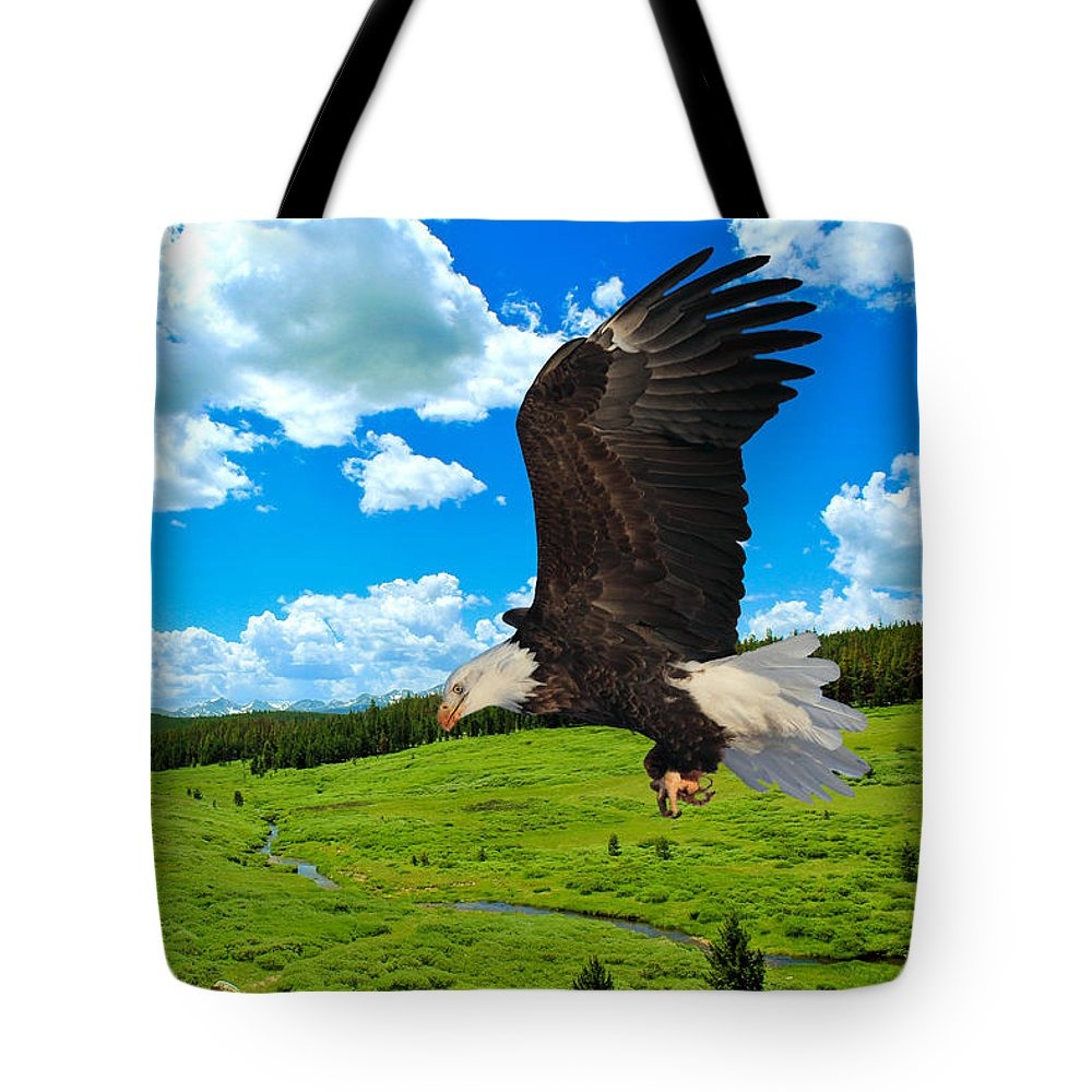 Bald Eagle Tote Bag featuring the photograph Fly By by Shane Bechler