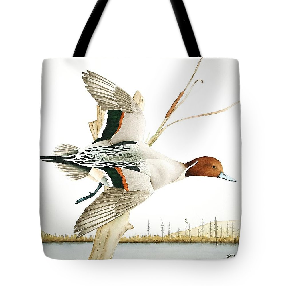Pintail Duck Tote Bag featuring the painting Fly-by by Richard Rooker