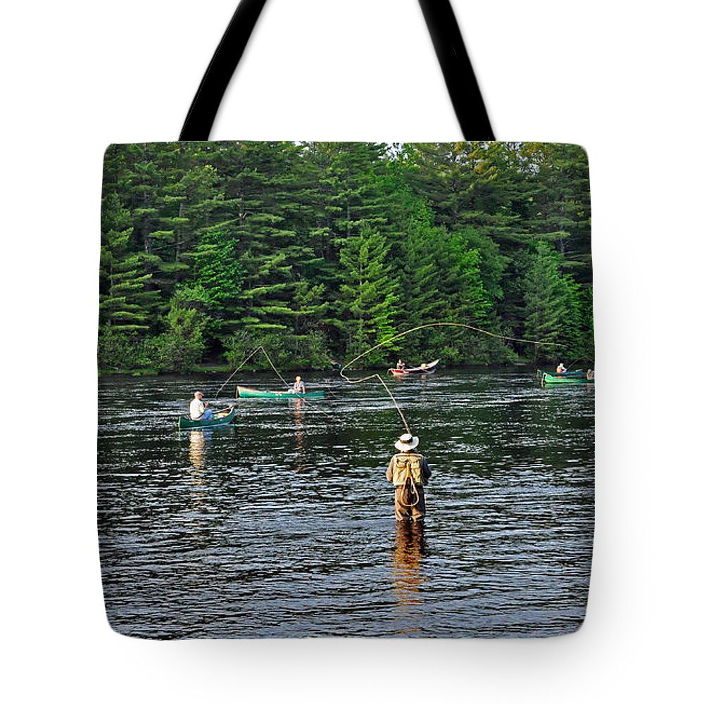 Fly Fishing Tote Bag featuring the photograph Fly Fishing West Penobscot River Maine by Glenn Gordon