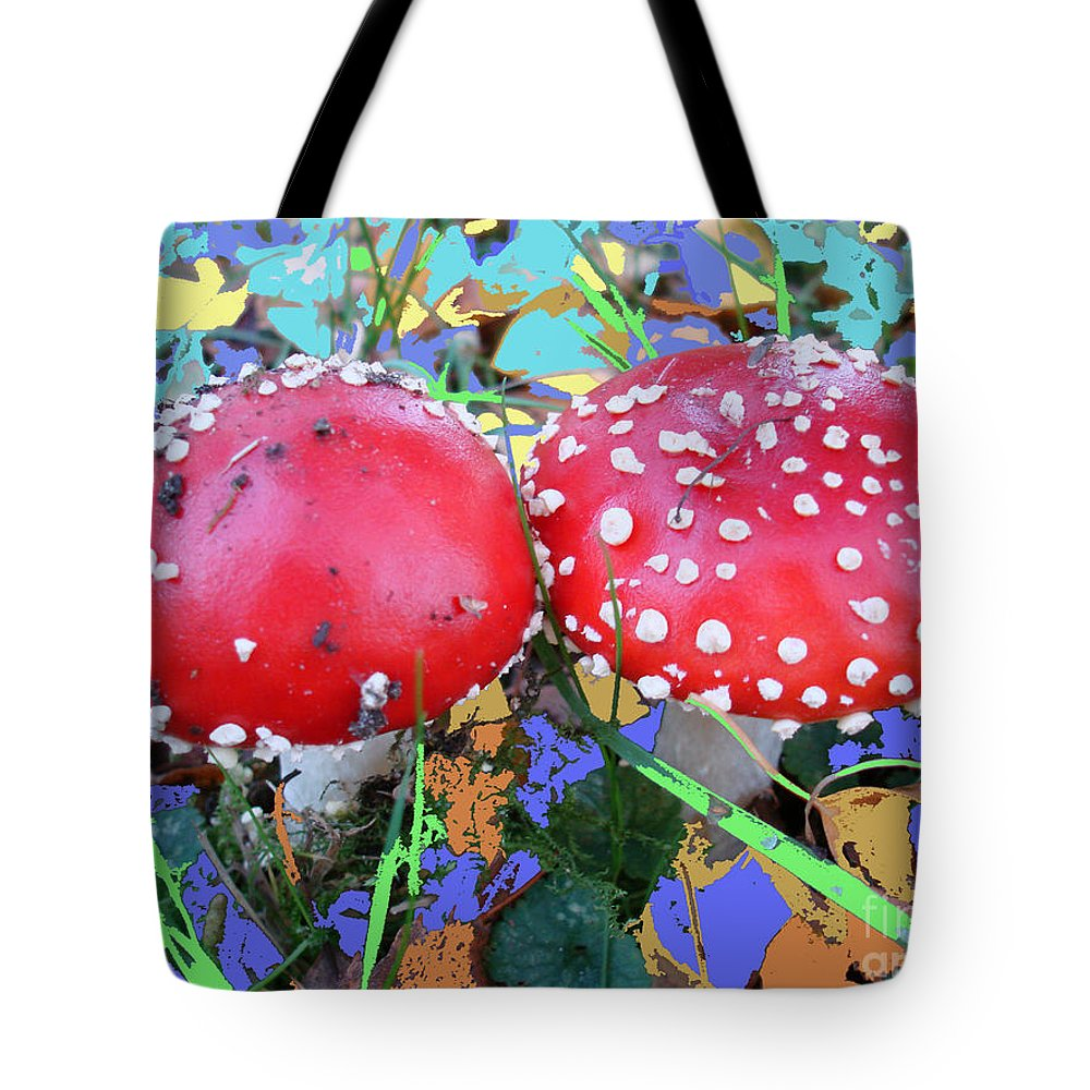 Fly-fungus Tote Bag featuring the photograph Fly-fungus With Blue Leaves By M.l.d.moerings 2009 by Marion Moerings