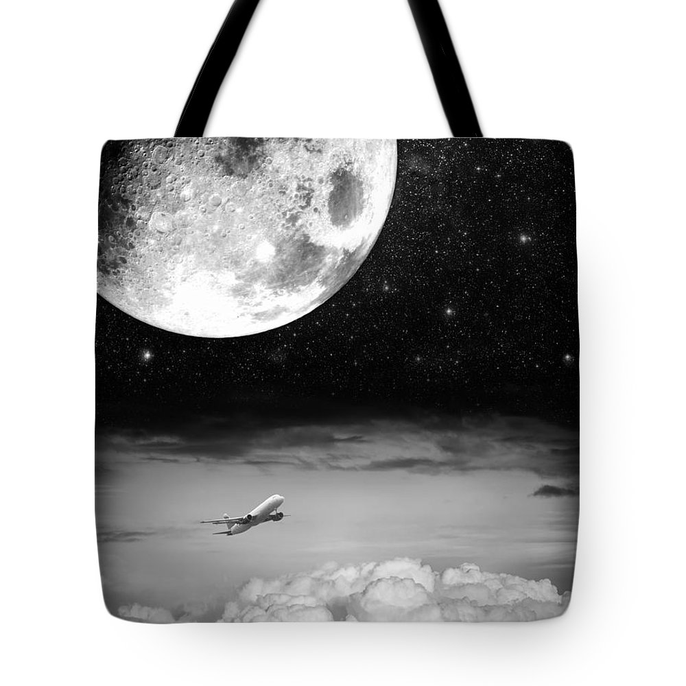 Black Tote Bag featuring the photograph Fly Me To The Moon by Semmick Photo