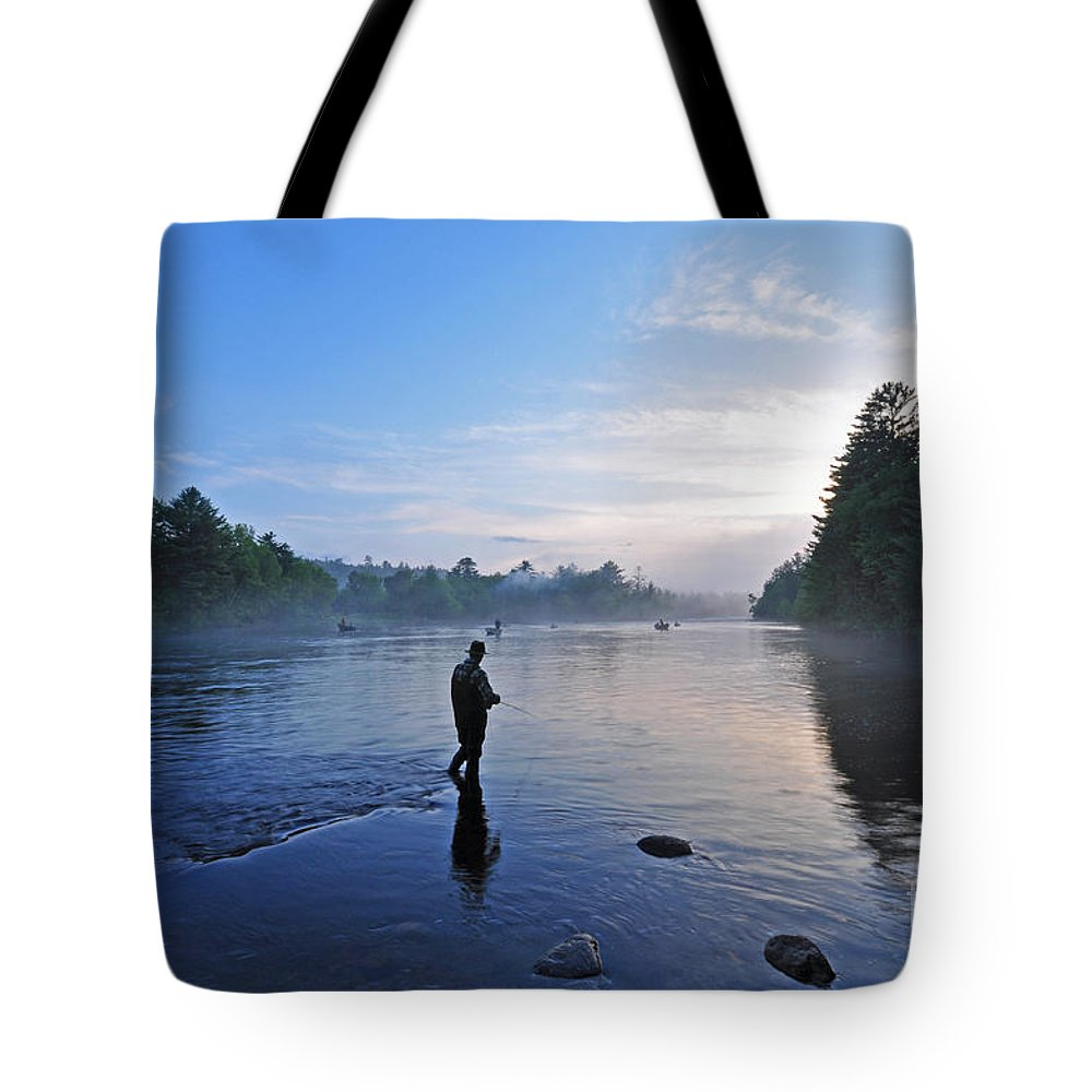Fly Fishing Tote Bag featuring the photograph Flyfishing In Maine by Glenn Gordon