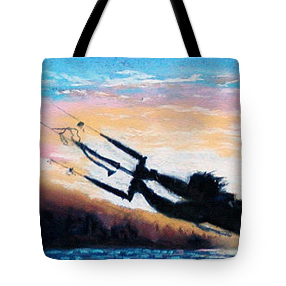Kiteboarding Tote Bag featuring the pastel Flyin' Kiteboarder by Lynee Sapere