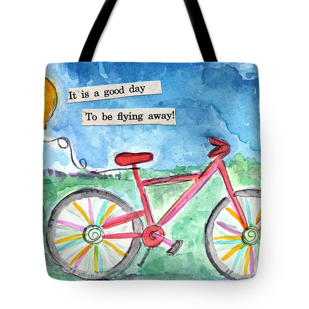 Bike Tote Bag featuring the painting Flying Away- Bicycle And Balloon Painting by Linda Woods