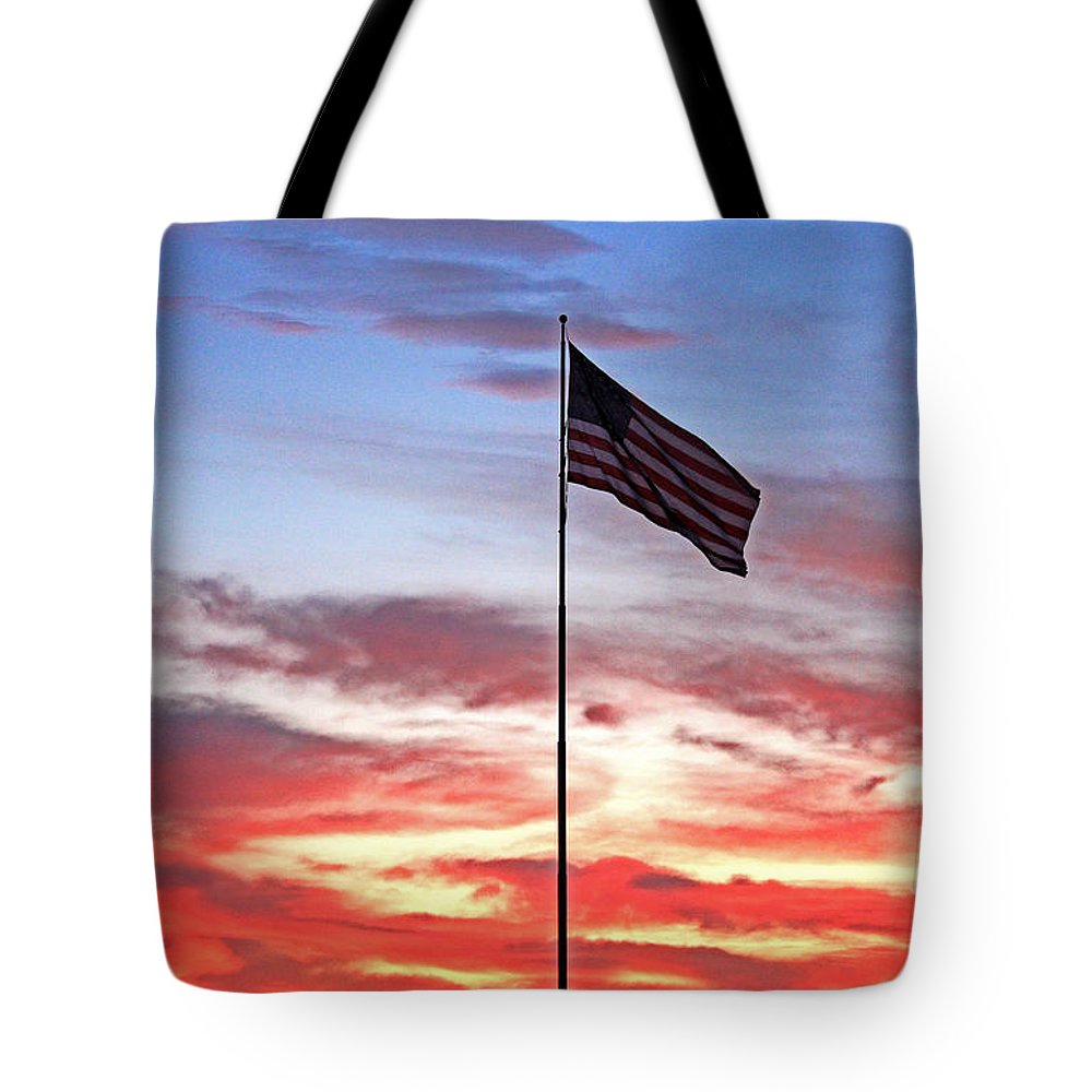 Us Flag With Sunset Backgound Tote Bag featuring the photograph Flying High 8 by Earl Johnson