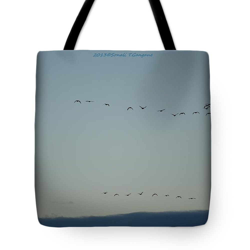 Flying Home Tote Bag featuring the photograph Flying Home by Sonali Gangane