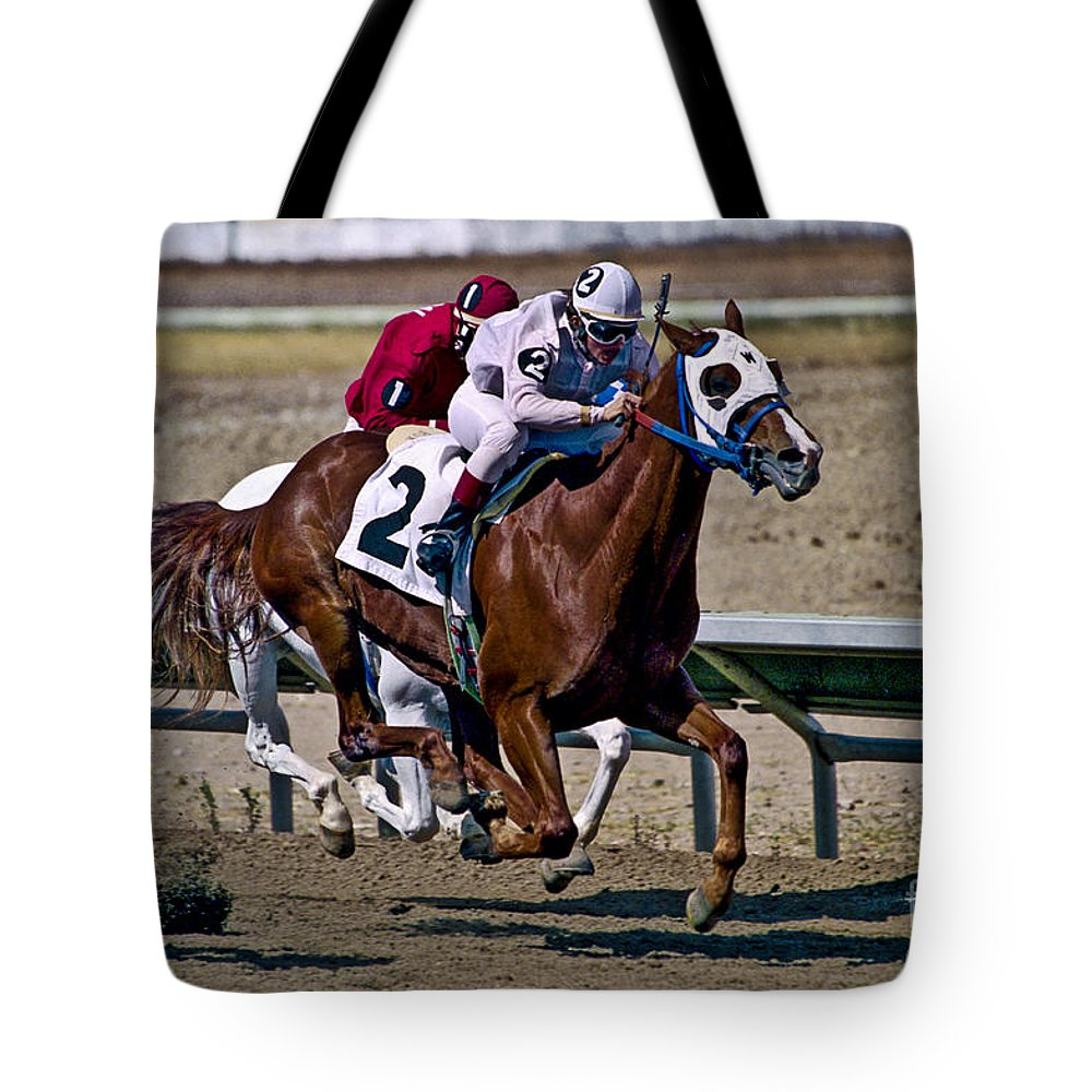Racing Tote Bag featuring the photograph Flying Hooves by Kathy McClure