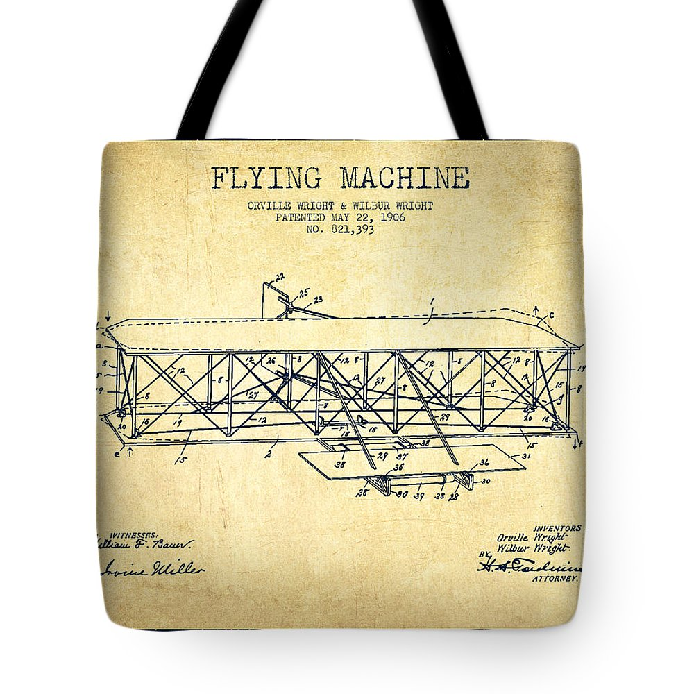 Airplane Tote Bag featuring the digital art Flying Machine Patent Drawing from 1906 - Vintage by Aged Pixel