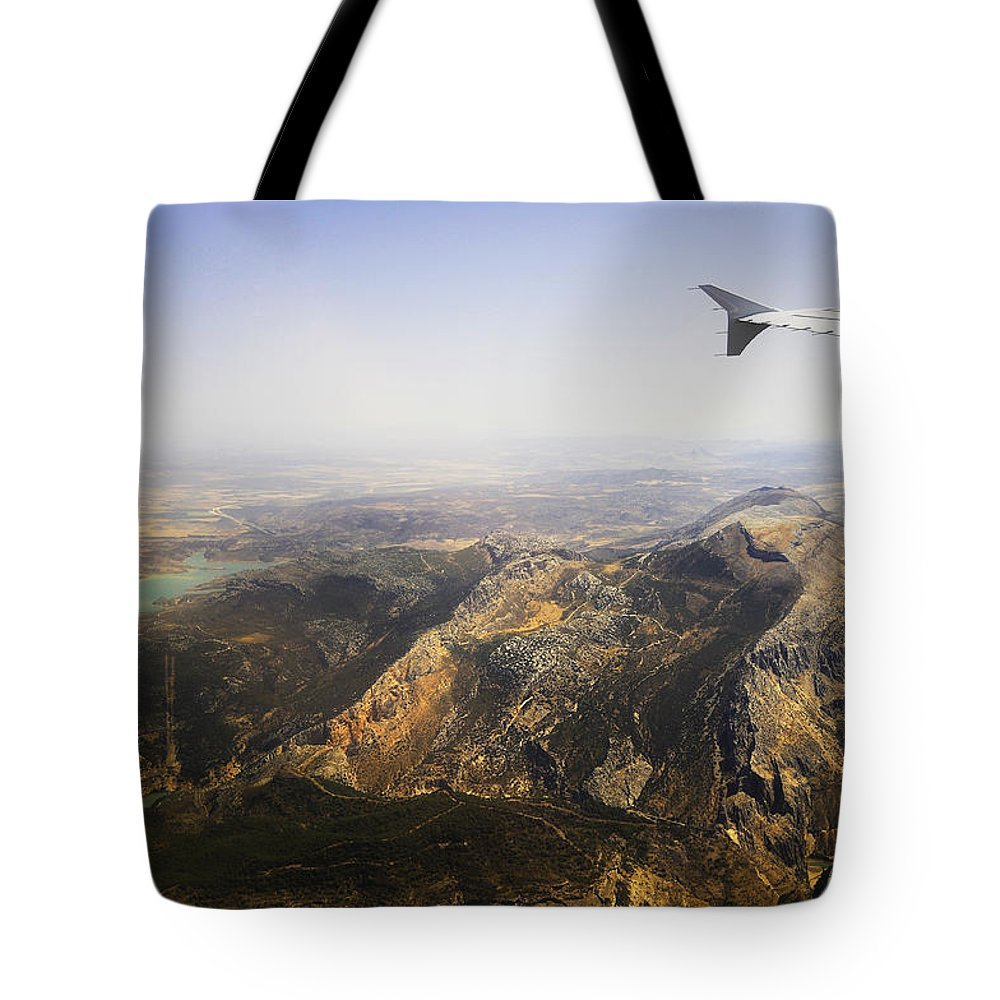 Spain Tote Bag featuring the photograph Flying Over Spanish Land I by Jenny Rainbow