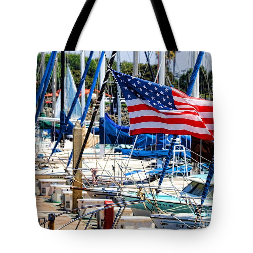 American Flag Tote Bag featuring the photograph Flying Proud By Diana Sainz by Diana Raquel Sainz