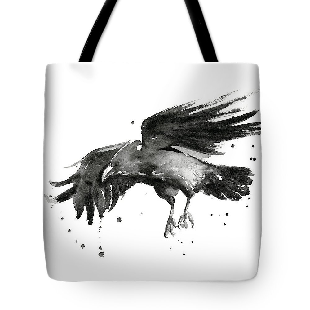 Raven Tote Bag featuring the painting Flying Raven Watercolor by Olga Shvartsur