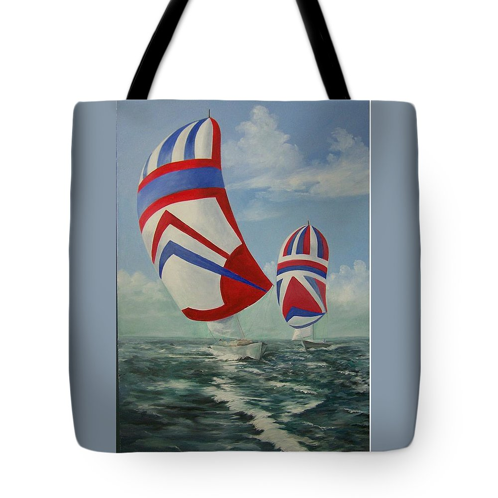 Sailing Ships Tote Bag featuring the painting Flying The Colors by Wanda Dansereau