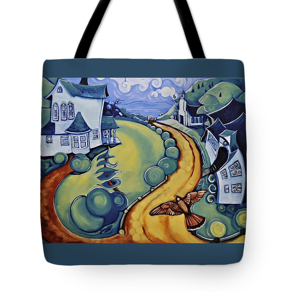 Tote Bag featuring the painting Flying To Nicola by Cassandra Dolen