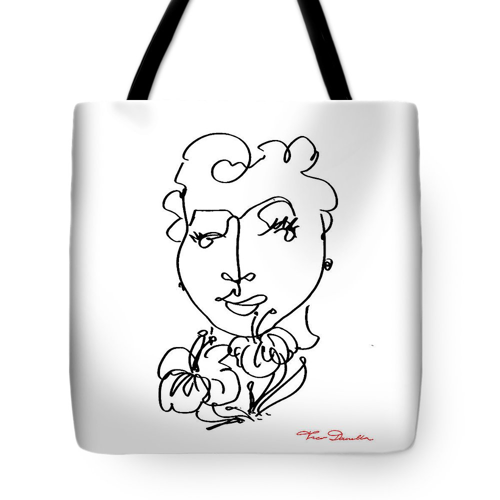 Theo Danella Tote Bag featuring the drawing Fm 1 by Theo Danella