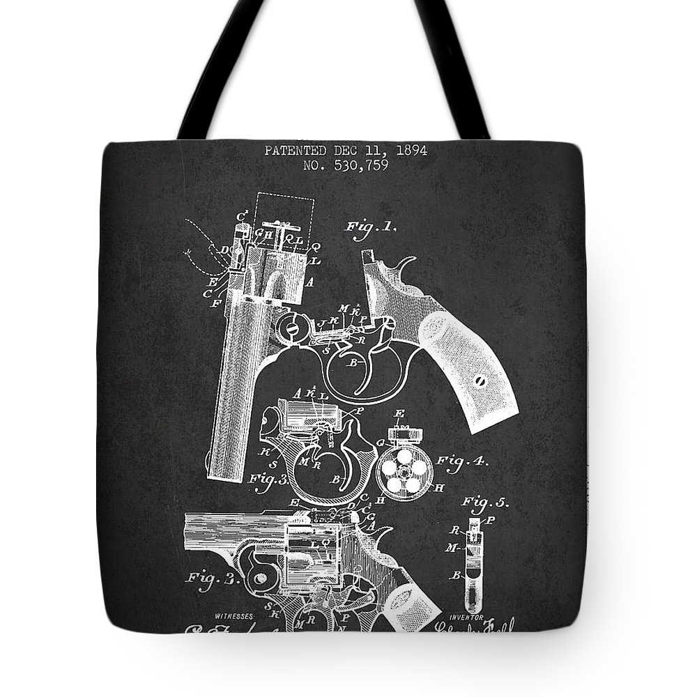 Pistol Tote Bag featuring the digital art Foehl Revolver Patent Drawing From 1894 - Dark by Aged Pixel