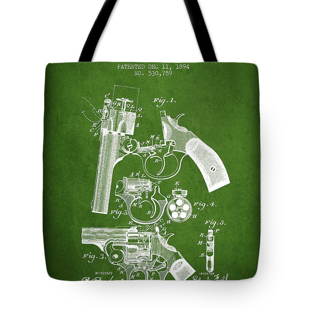 Pistol Tote Bag featuring the digital art Foehl Revolver Patent Drawing From 1894 - Green by Aged Pixel