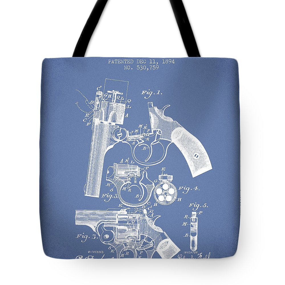 Pistol Tote Bag featuring the digital art Foehl Revolver Patent Drawing From 1894 - Light Blue by Aged Pixel