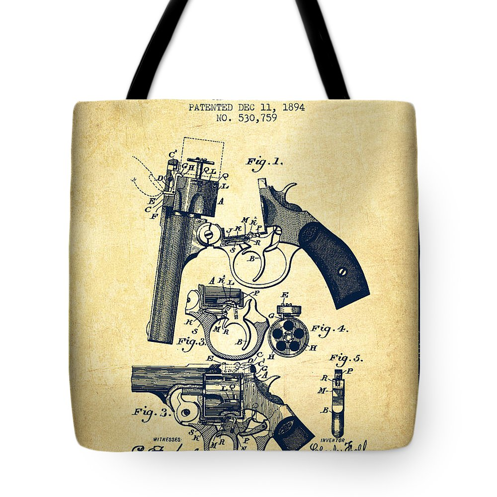 Pistol Tote Bag featuring the digital art Foehl Revolver Patent Drawing From 1894 - Vintage by Aged Pixel