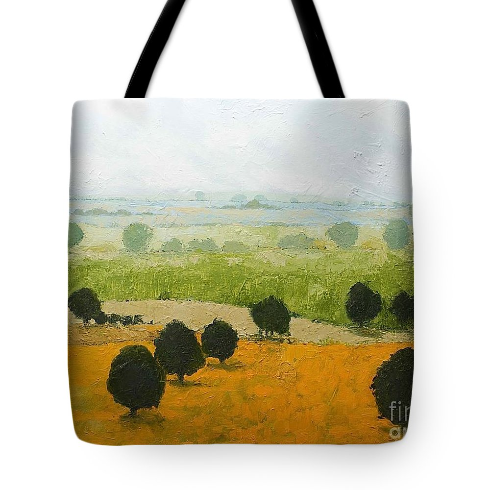 Landscape Tote Bag featuring the painting Fog Lifting Fast by Allan P Friedlander