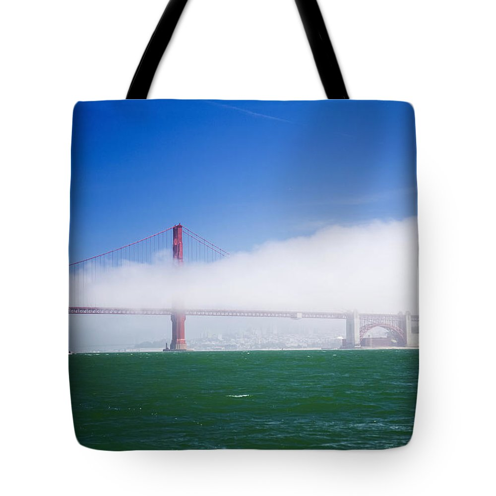 Fog Tote Bag featuring the photograph Fog On The Bridge by Hugh Stickney