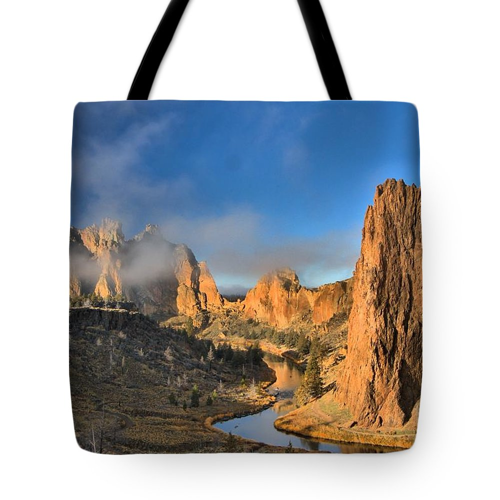 Smith Rock Tote Bag featuring the photograph Fog Over Smith Rock by Adam Jewell