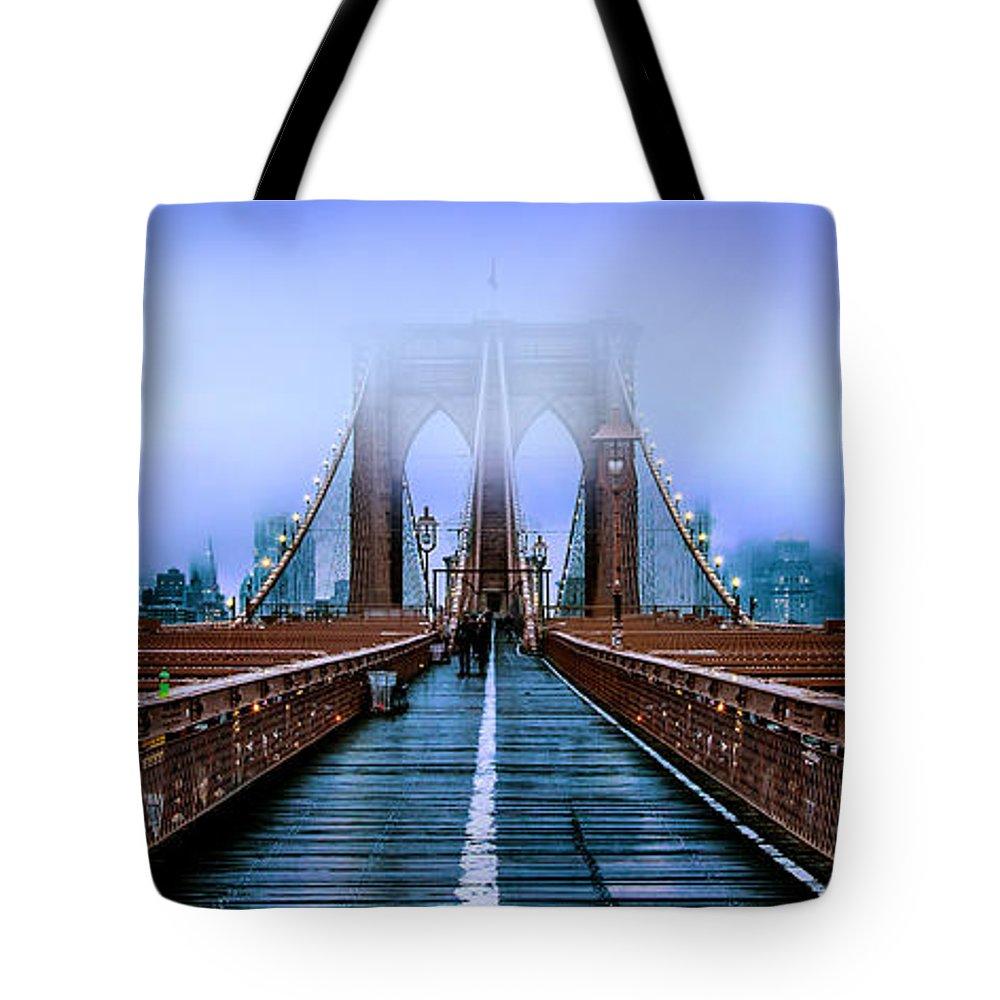 Brooklyn Bridge Tote Bag featuring the photograph Fog Over The Brooklyn by Az Jackson