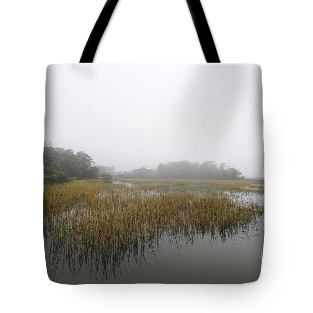 Fog Tote Bag featuring the photograph Fog Over The Marsh by Dale Powell