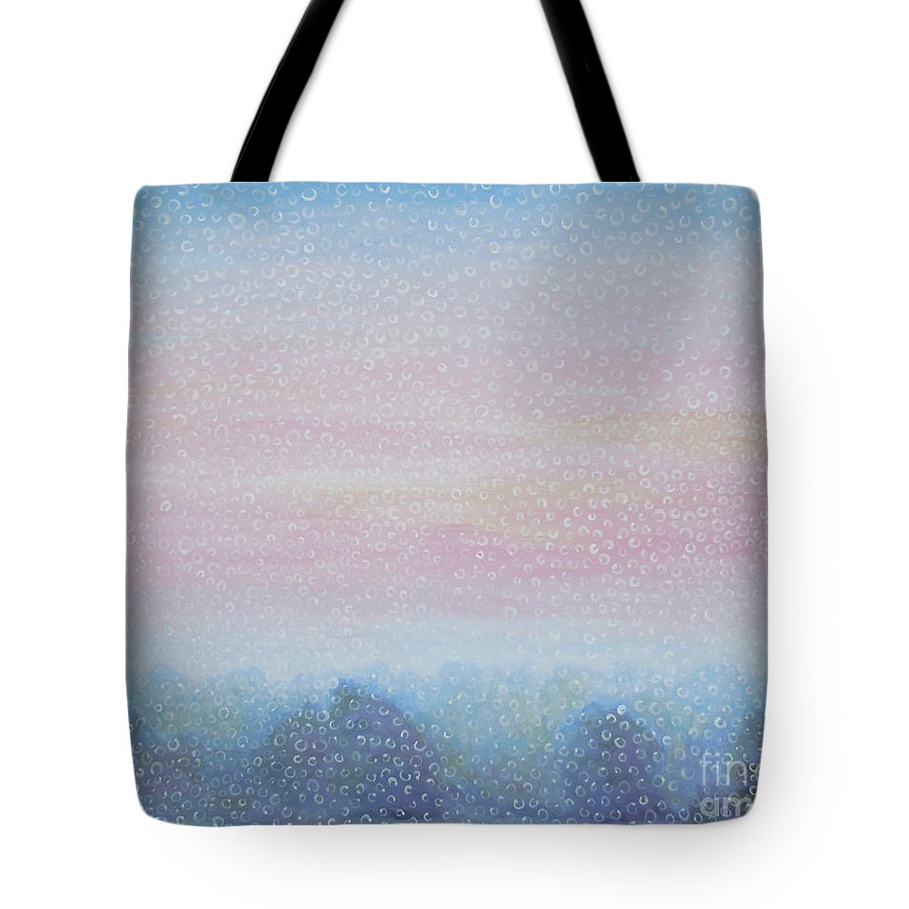 Landscape Tote Bag featuring the painting Fog by Tonya Henderson