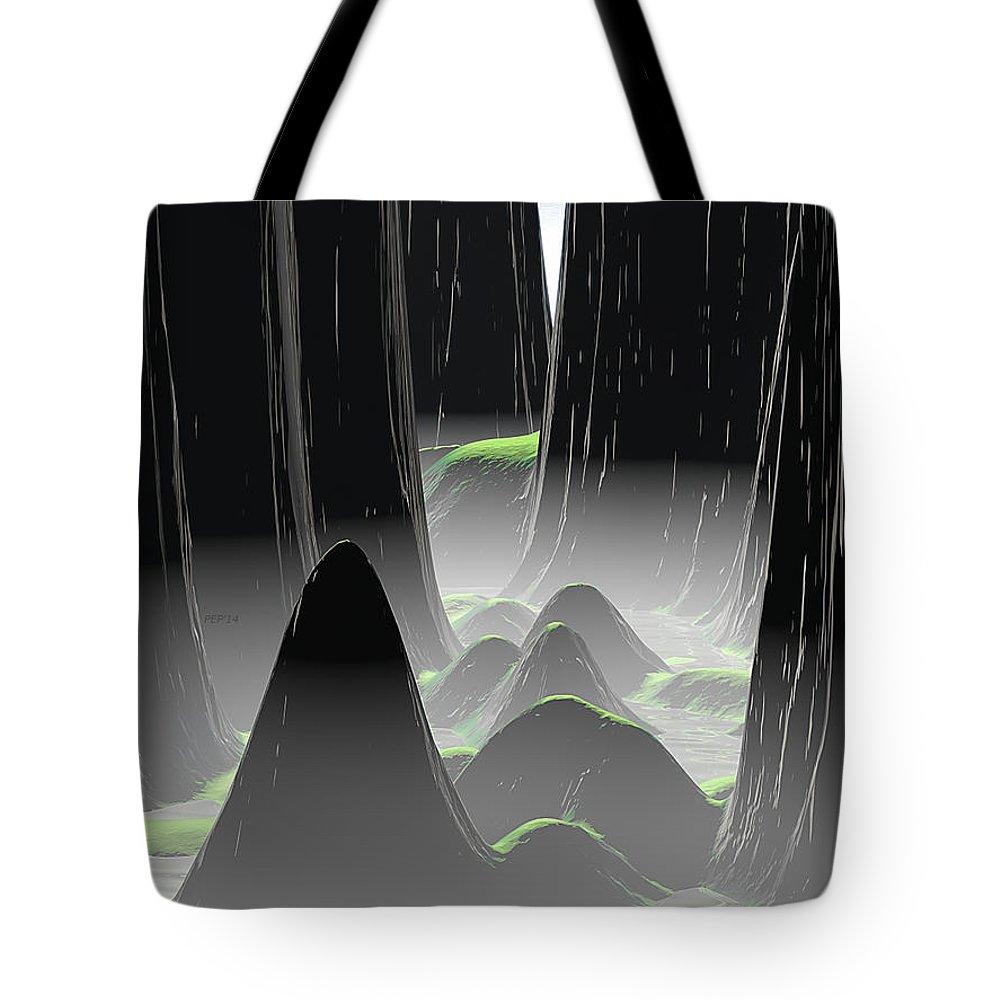 Landscape Tote Bag featuring the digital art Foggy Canyon Pass by Phil Perkins