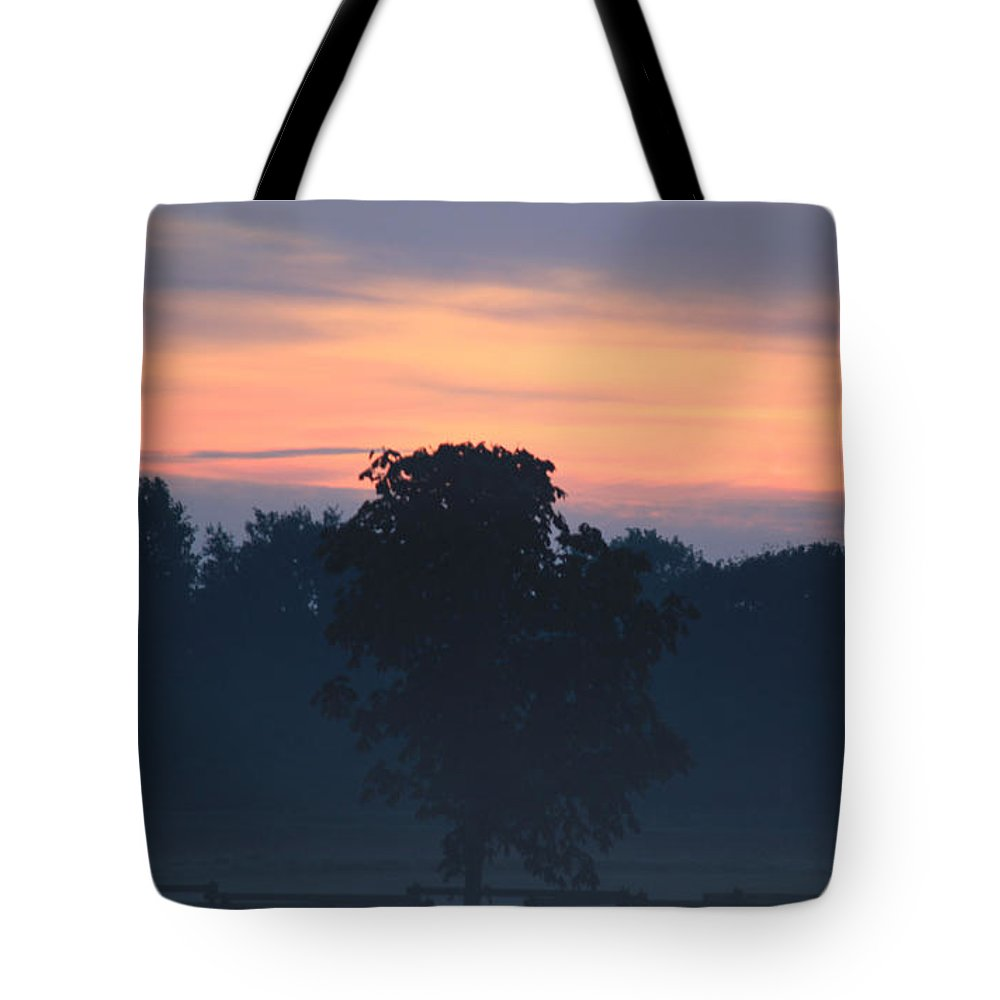 Painting Sunrise By Nature Tote Bag featuring the photograph Foggy Coloured Morning by Four Hands Art