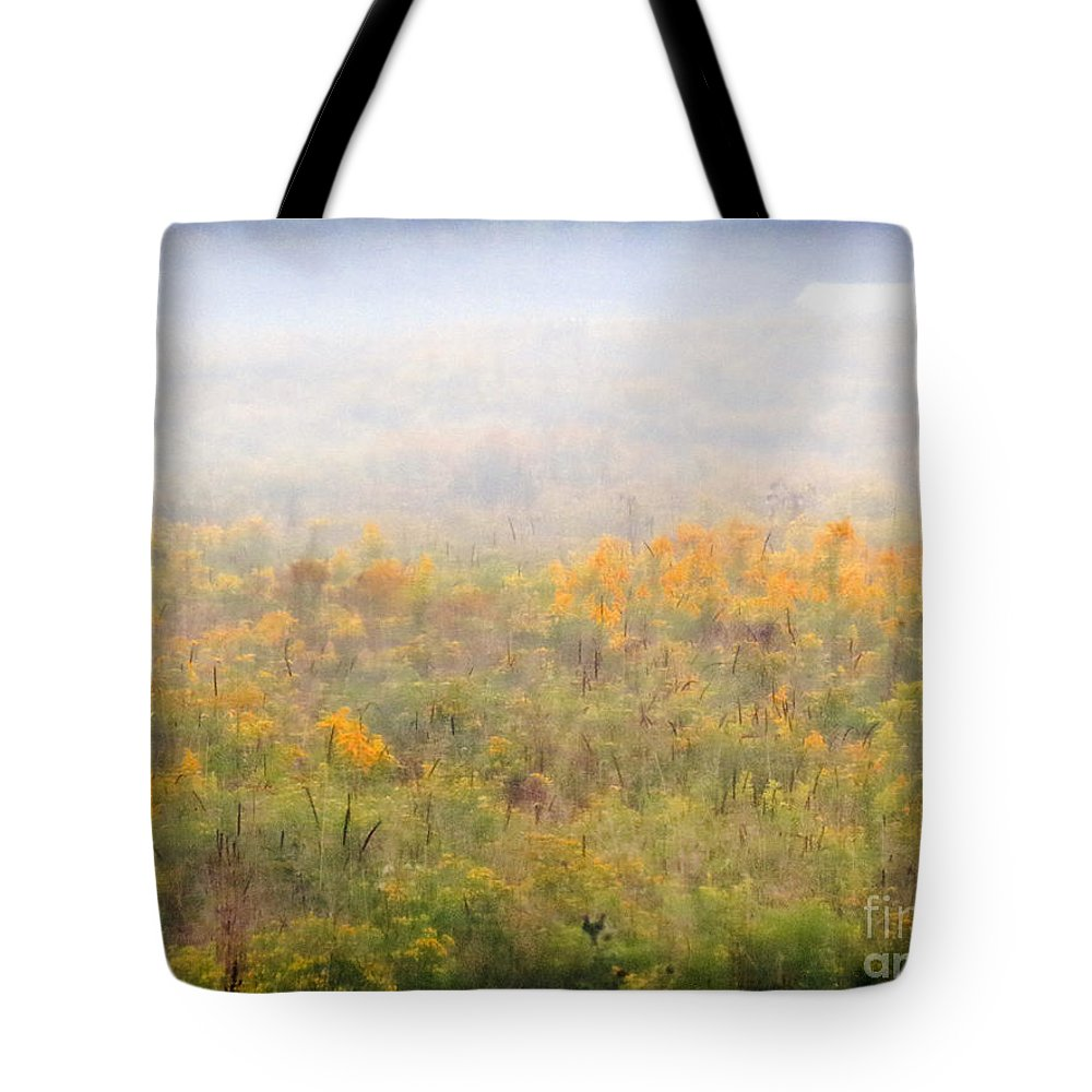 Fog Tote Bag featuring the photograph Foggy Country Autumn Morning by Darleen Stry
