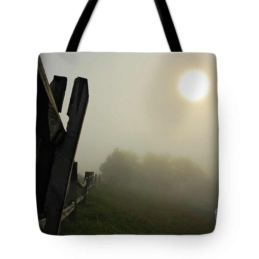 Foggy Country Road Tote Bag featuring the photograph Foggy Country Road by Lois Bryan