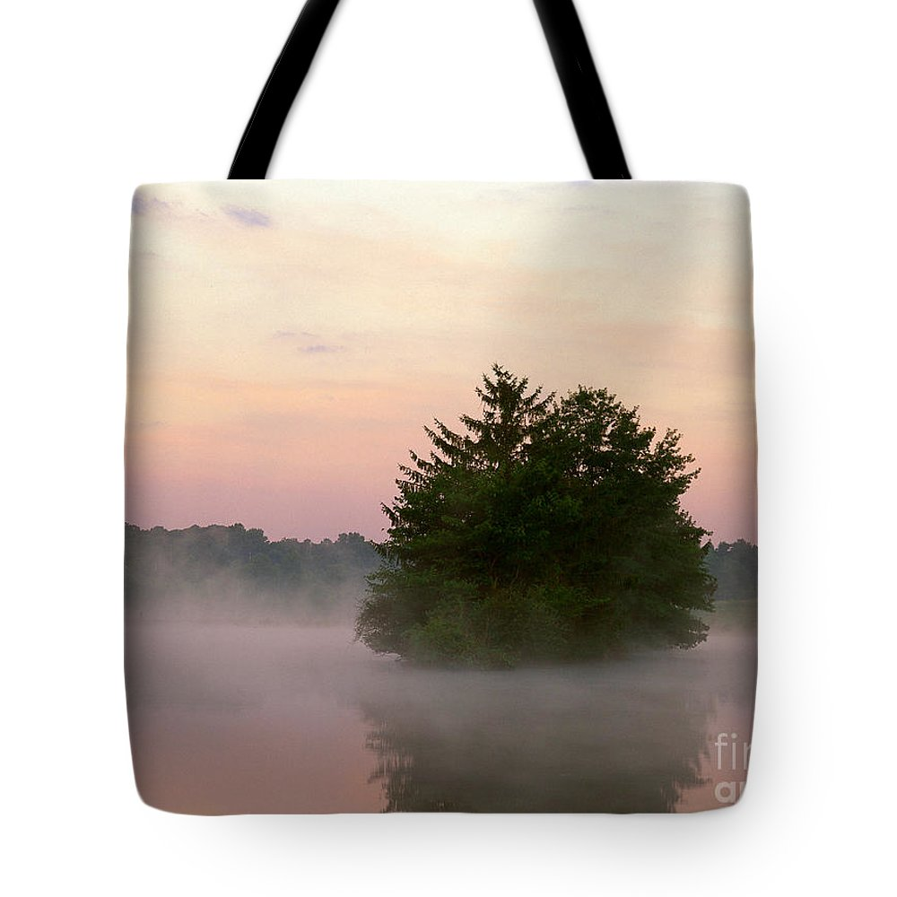 Nature Tote Bag featuring the photograph Foggy Lake by David Davis