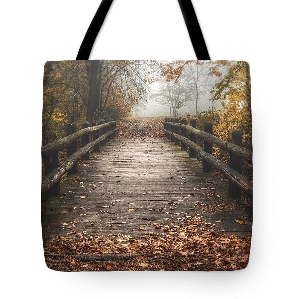 Bridge Tote Bag featuring the photograph Foggy Lake Park Footbridge by Scott Norris