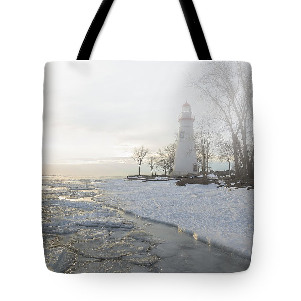 Erie Tote Bag featuring the photograph Foggy Marblehead by Jack R Perry