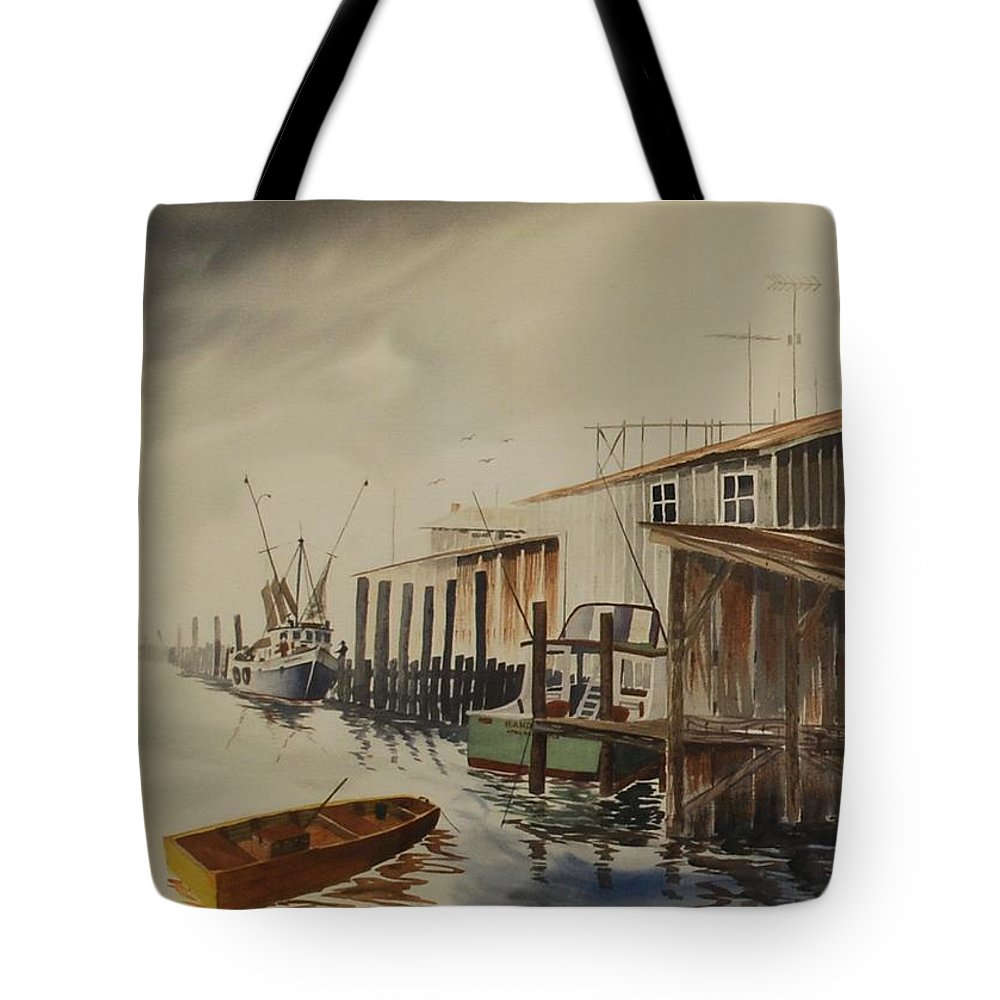 Apalachicola Florida Harbor Tote Bag featuring the painting Foggy Morning Breakdown by Robbie L Rogers