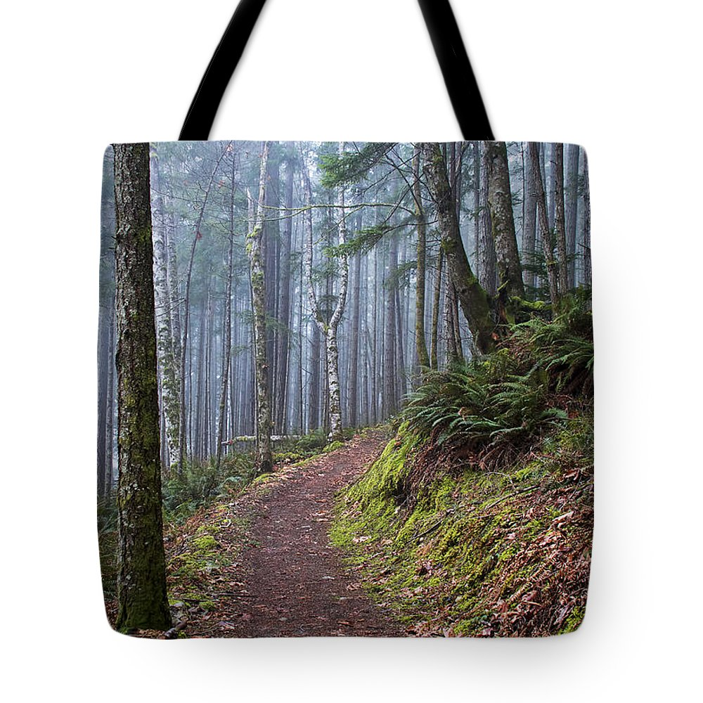 Fog Tote Bag featuring the photograph Foggy Morning In The Forest by Peggy Collins